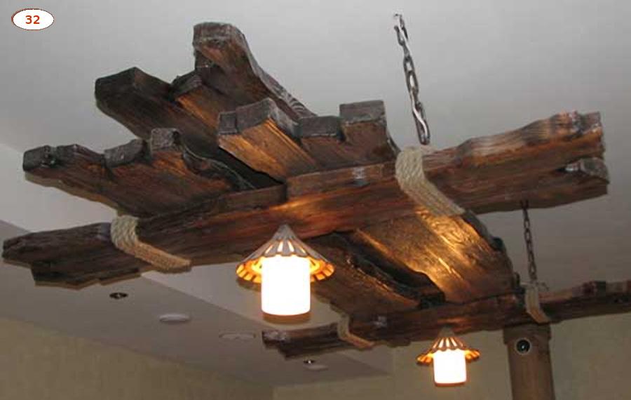 Деревянная люстра под старину